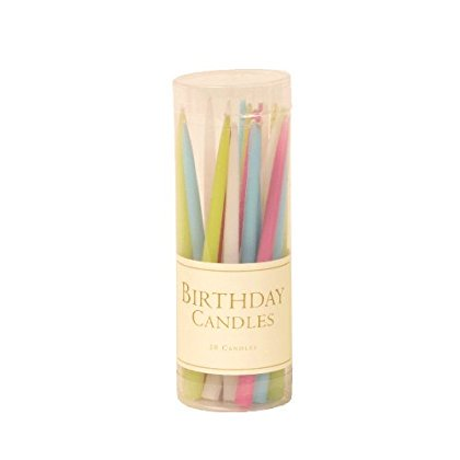 Entertaining with Caspari 3-Inch Birthday Dripless, Smokeless, Unscented Candles, Pastels, Set of