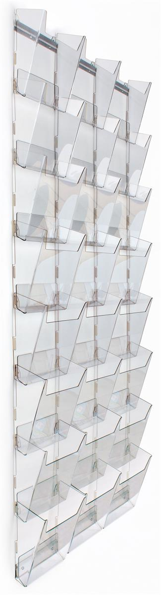 Tiered Magazine Rack for Wall Mount Use, 24 Pockets, 3 Columns of 8, Full View Clear... by Displays2go