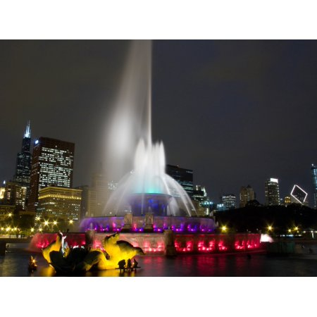 Buckingham 12 Light (Illuminated fountain with skyscrapers in a city Buckingham Fountain Grant Park Chicago Illinois USA Stretched Canvas - Panoramic Images (9 x 12) )