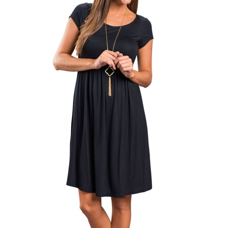4ef9d7d462e4 Martlowile - Martlowile Women Short Sleeve Round Neck Solid Pleated Midi  Smock Dress - Walmart.com