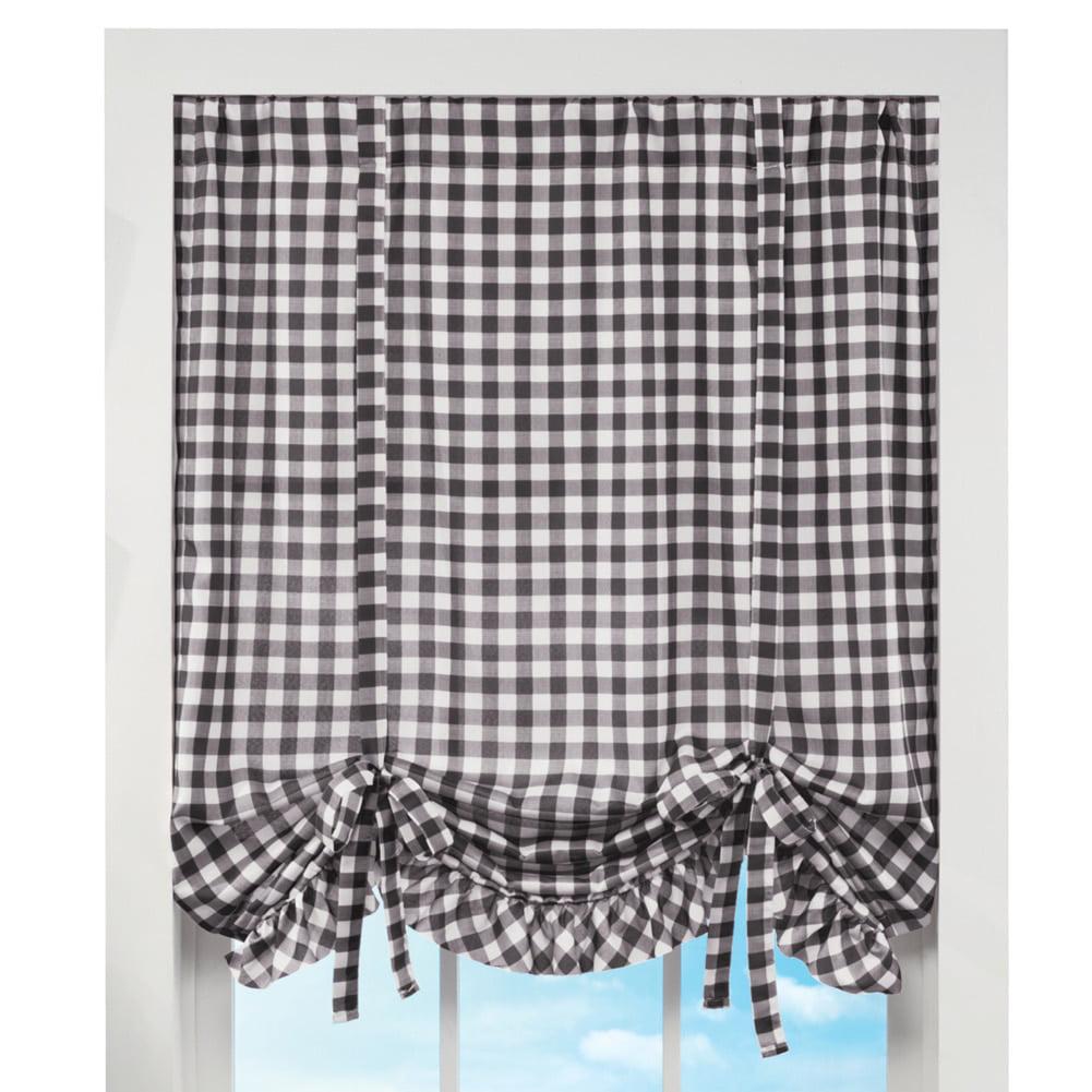 Ruffled Check Tie-up Rod Pocket Top Window Curtain Valance, Black
