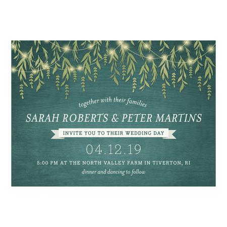 Personalized Wedding Invitation - Greenery Lights - 5 x 7 Flat