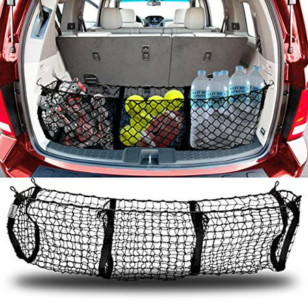 Trunk Flight Case (Zento Deals Heavy Duty Stretchable Black Mesh Net Cargo Trunk Storage Organizer- Keeping things Secured and More Organize with 4 Plastic)