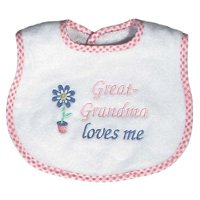 "Baby Girls ""Great-Grandma Loves Me"" Embroidered Bib, Pink"