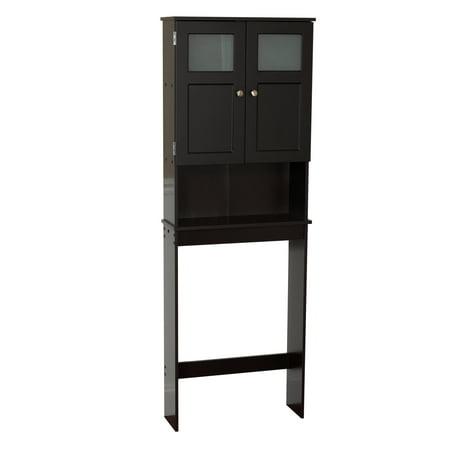 Zenna Home Over the Toilet Bathroom Storage Spacesaver, with 2-Door Cabinet and Glass Windows, Espresso