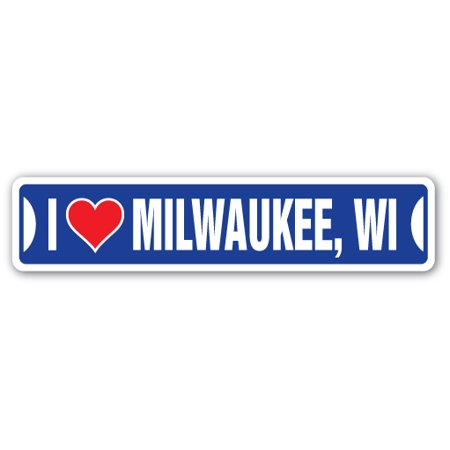 I LOVE MILWAUKEE, WISCONSIN Street Sign wi city state us wall road décor gift (Party City Milwaukee Wi)