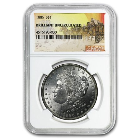 Uncirculated Silver Eagle Dollar Coins - 1886 Stage Coach Silver Dollar BU NGC