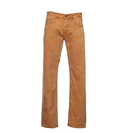 Rocawear 'Interior Color Weave' Men's Orange Distressed Straight Leg Jeans ()