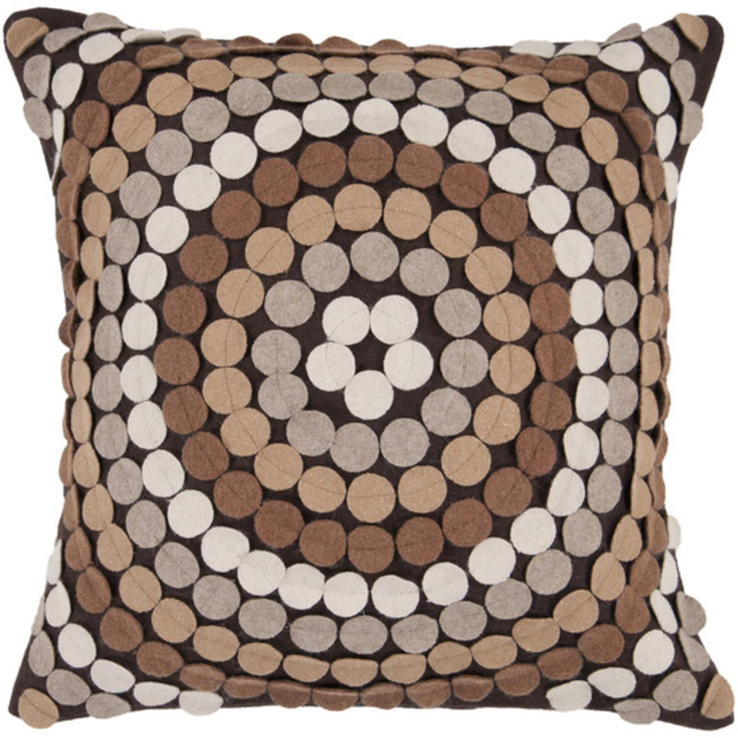 "22"" Espresso Brown Toned Applique Mandala Decorative Throw Pillow"