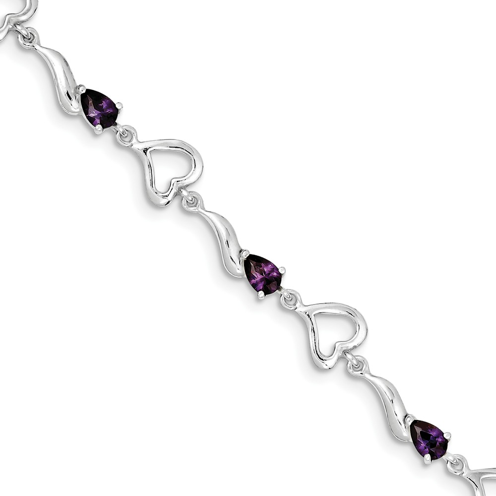 ICE CARATS ICE CARATS 925 Sterling Silver Purple Amethyst Heart Bracelet 7.75 Inch Gemstone  love Fine Jewelry Ideal... by IceCarats Designer Jewelry Gift USA