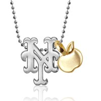 New York Mets Alex Woo Women's Little MLB Sterling Silver Necklace with Mini Gold Apple Addition