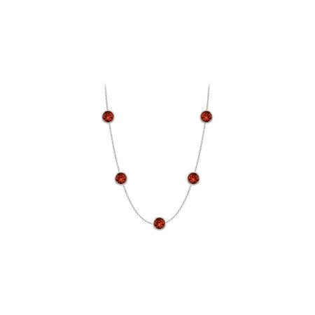 14K White Gold 16 Inch Necklace with Garnet one carat TGW - image 2 of 2