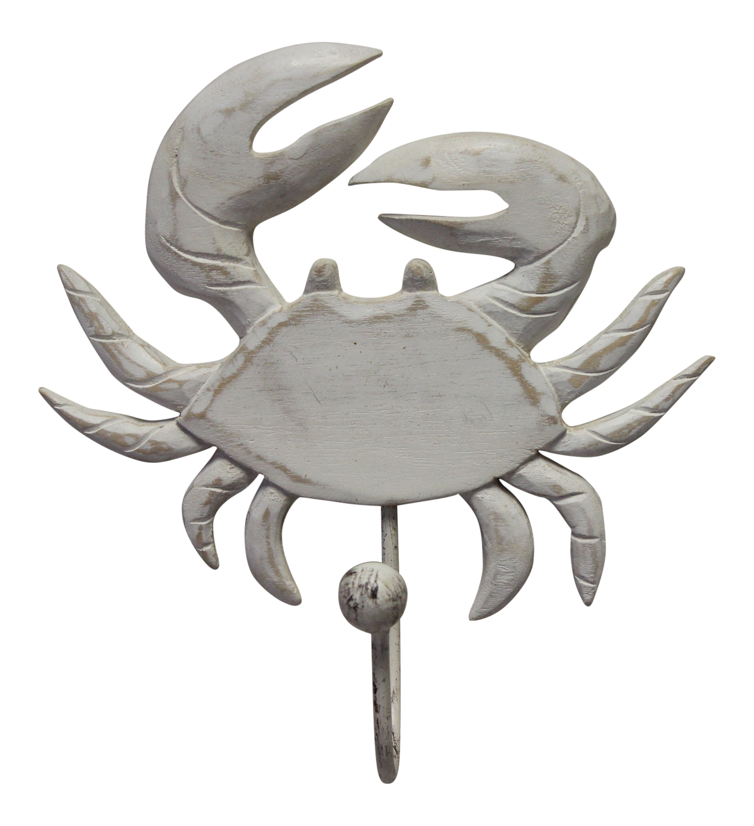 Crab Carved Whitewashed Wood Wall Single Hook 8.5 Inch
