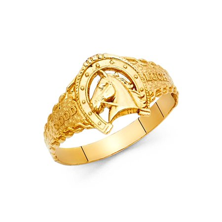 Horseshoe Horse Head Good Luck Ring Solid 14k Yellow Gold Lucky Charm Band Polished Finish (Good Luck Money Ring)
