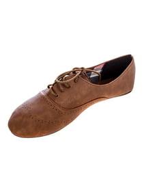 7eec991a9 Delias Women's Lace-Up Wingtip Oxford Ballet Flat Shoe