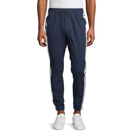 No Boundaries Men's Woven Side Stripe Jogger Pants Woven Contrast Side Stripes