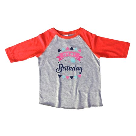 Girls Birthday Raglan 3 4 Sleeves Its My Cute B Day Toddler Youth Baseball Tee Gift Large Red