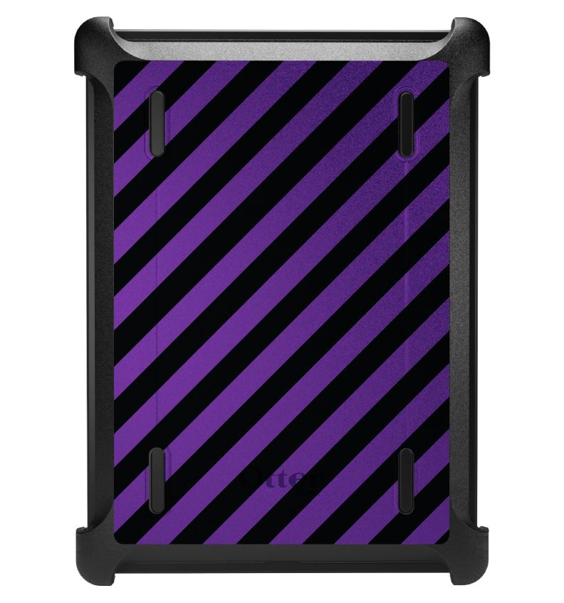 CUSTOM Black OtterBox Defender Series Case for Apple iPad Air 1 (2013 Model) - Black Purple Diagonal Stripes