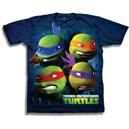 Teenage Mutant Ninja Turtles TMNT 3D Group Character Heads Shot Boys' Short Sleeve Graphic Tee T-Shirt