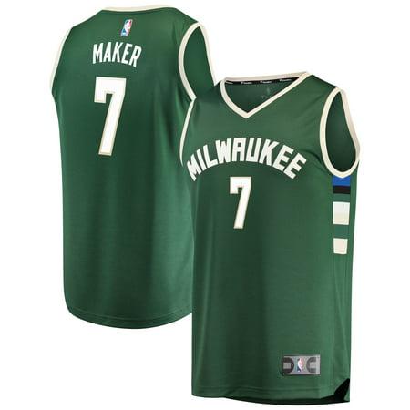 Milwaukee Road Depot (Thon Maker Milwaukee Bucks Fanatics Branded Fast Break Road Replica Player Jersey Green - Icon Edition )