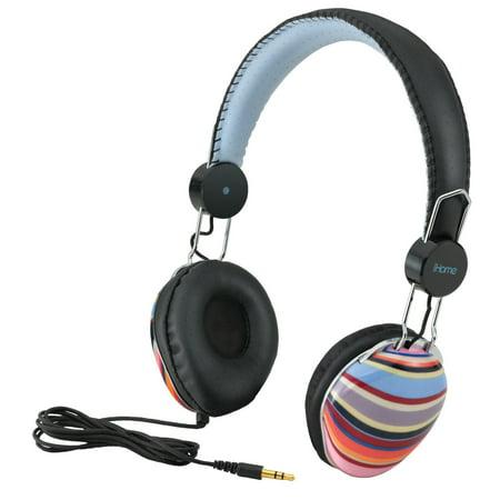 iHome iB43BM Designer Series Fashion Headphones Multi Stripe 40mm Rich Sound (Rich Designer)