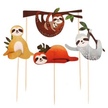 AkoaDa 4 Pcs Sloth Cupcake Toppers Cake Picks Decoration for Baby Shower Birthday Party Supplies Baby Shower Cake Decoration