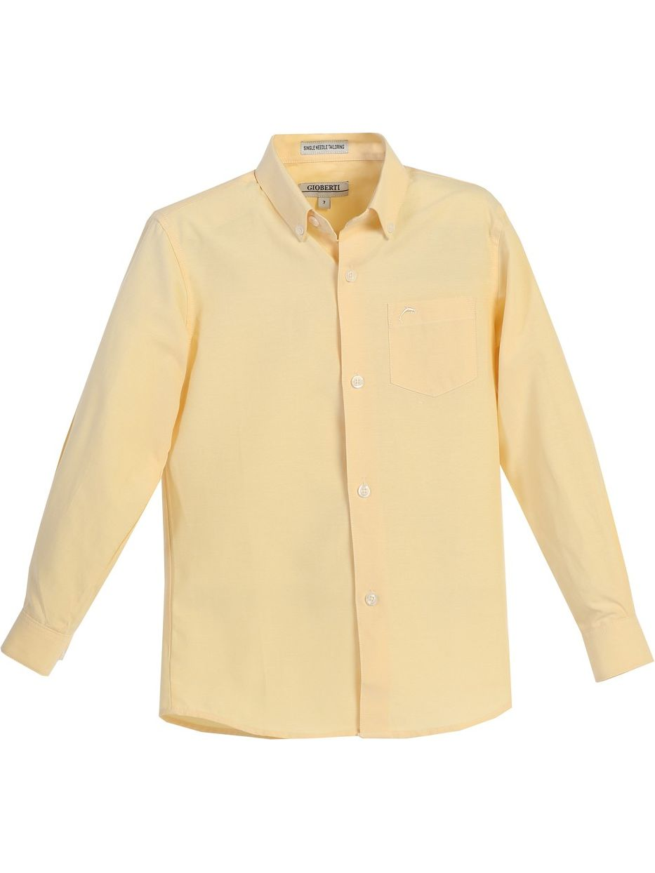 Gioberti Boys Yellow Chest Pocket Long Sleeved Oxford Dress Shirt