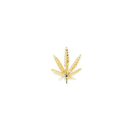 10K Yellow Gold Cannabis Leaf Charm Pendant - - Affirmation Pendant Charms