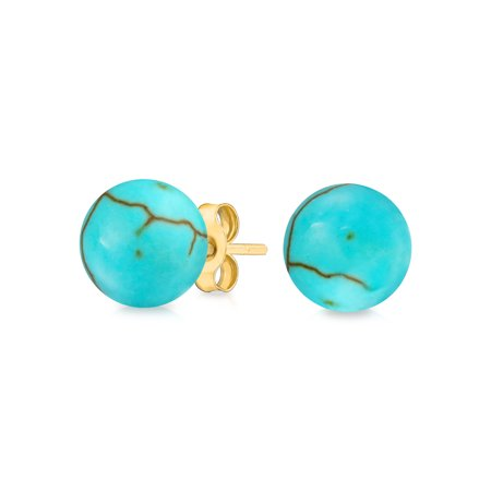 (14K Yellow Gold Natural Gemstone Ball Stud Post Earrings (6mm))