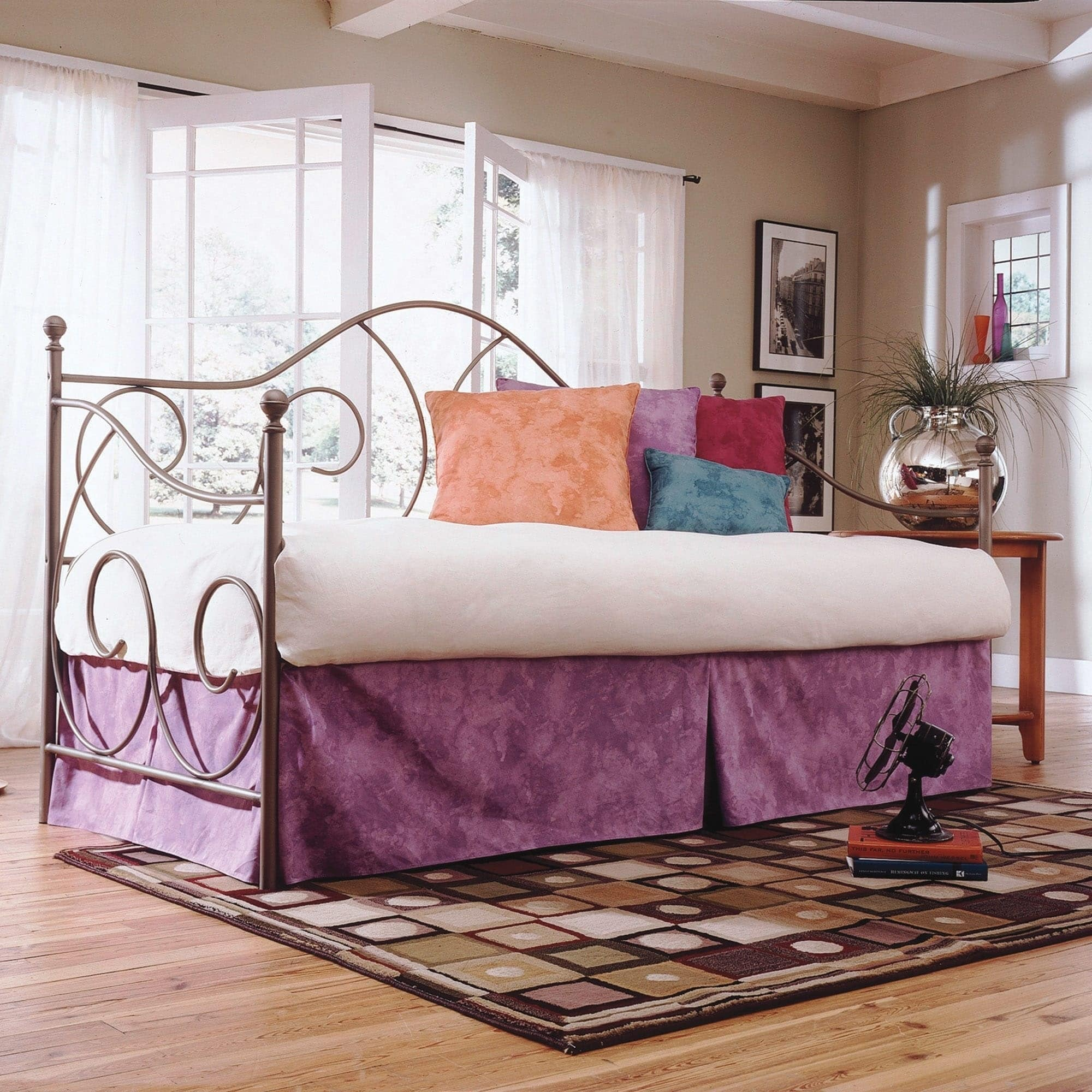 Caroline Complete Metal Day Bed with Euro Top Deck and Trundle Bed Pop-Up Frame, Flint Finish, Twin by Fashion Bed Group