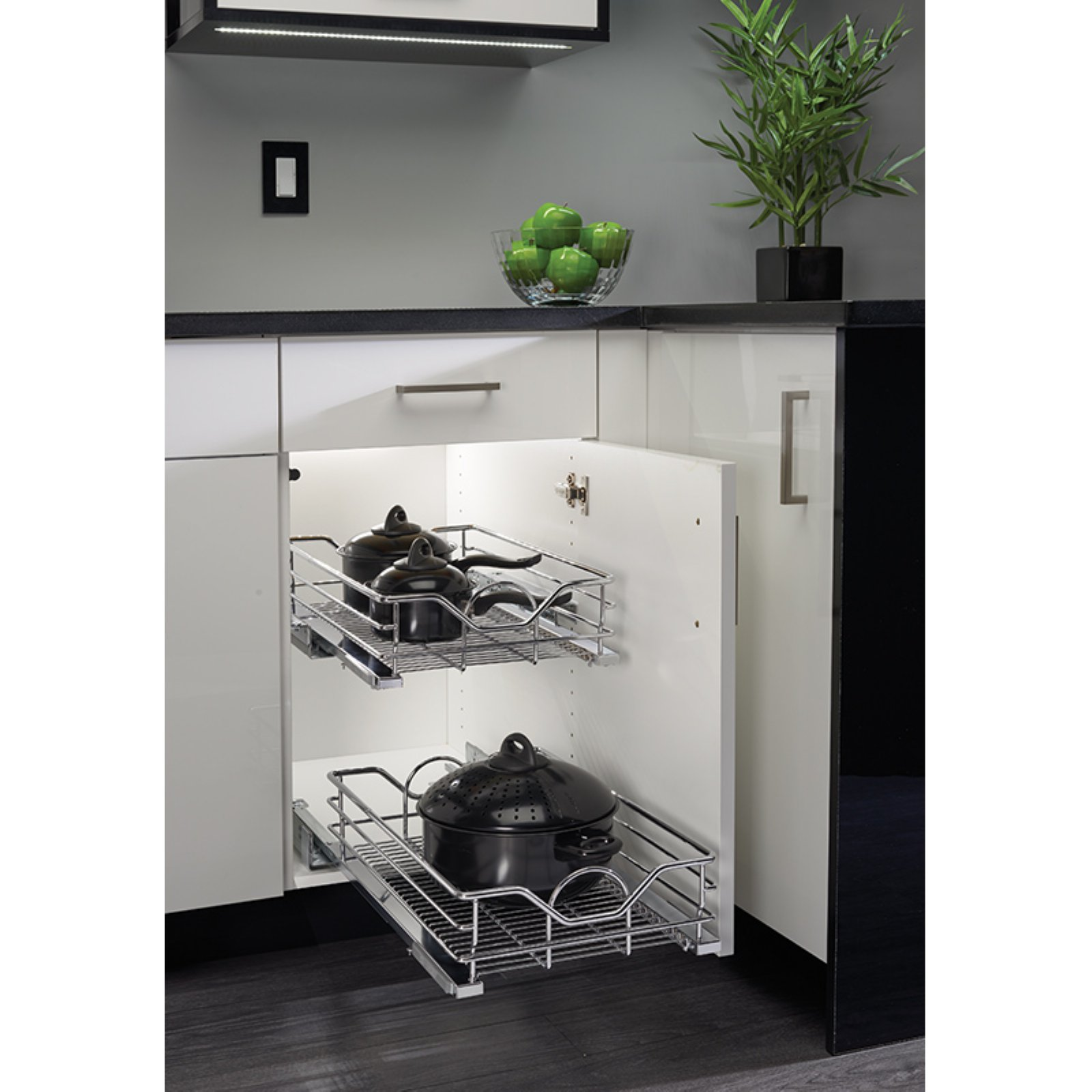 lowes com kitchen cabinets rev a shelf chrome pull out basket with soft 7207