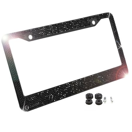 Zone Tech Shiny Bling License Plate Cover Frame - Classic Black Crystal Bling Novelty/License Plate Frame with Mounting (License 2 Bling License Plate Frames)
