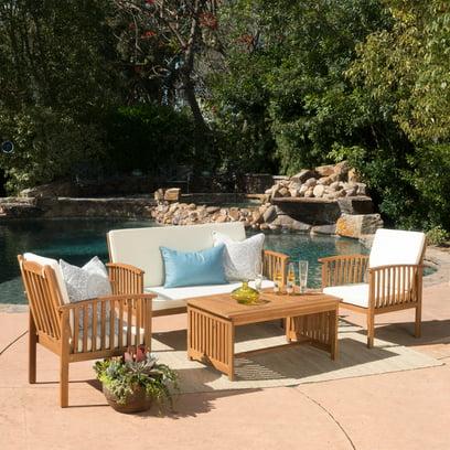 Noble House Sparks 4-piece Outdoor Acacia Sofa Set