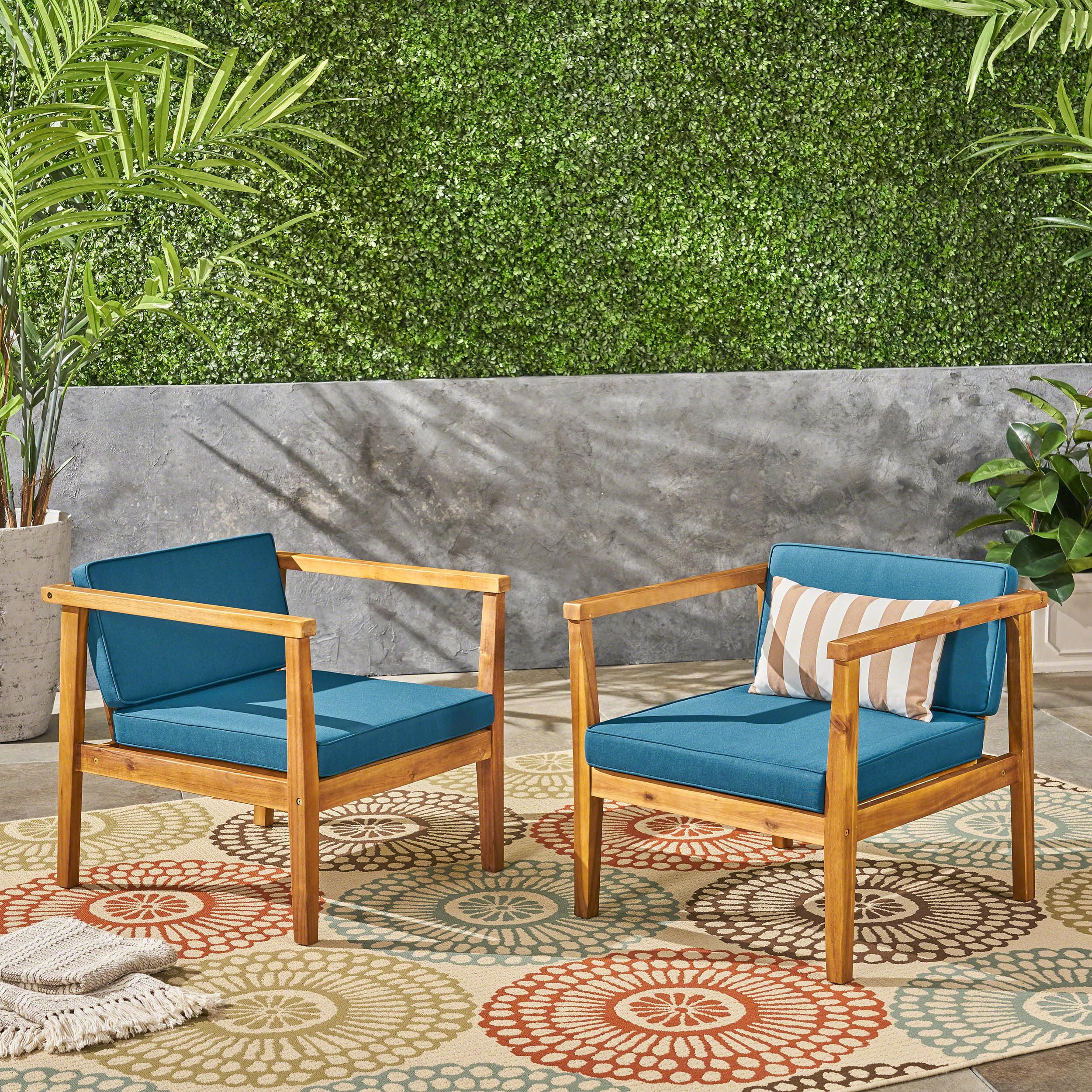 Newbury Outdoor Acacia Wood Club Chairs with Cushions, Set of 2, Teak, Dark Teal