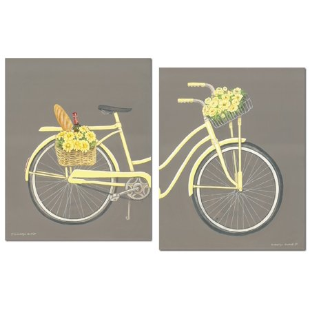 Vintage, Old Fashion Yellow Bicycle with Front Basket Filled with Flowers and Wine; Two 11x14in Poster Prints. Gray/Yellow (Printed on Paper, Not Wood)