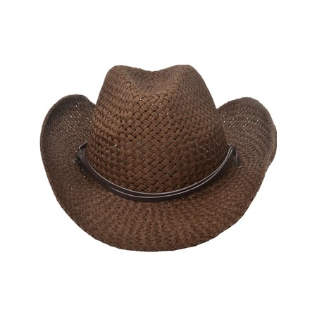 de96cd2dc41 BASILICA - Men s Straw Cowboy Hat w  PU Leather Band   Strap Chocolate -  Walmart.com