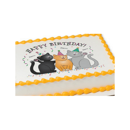 Birthday Cats Edible Extra Large 8 x 10 Cake Decoration Topper