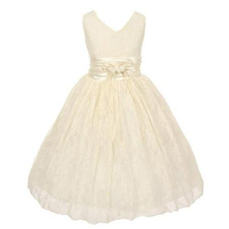 Girls Ivory Flower Embellished Waistband Lace Flower Girl Dress - Ivory Flowergirl Dress