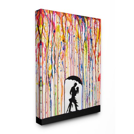 The Stupell Home Decor Collection Melting Colors Rainbow Rain Drops Umbrella Dancing Silhouette Stretched Canvas Wall Art, 24 x 30 24 X 30 Giclee Canvas