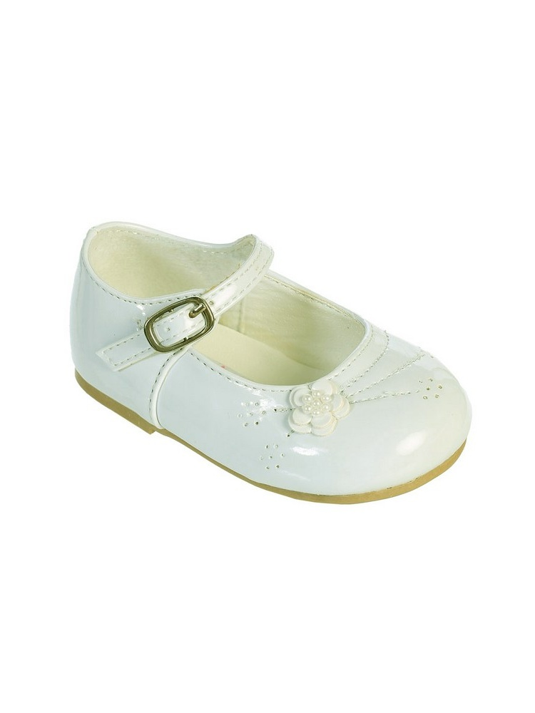 Little Girls Ivory Flower Applique Patent Leather Mary Jane Shoes