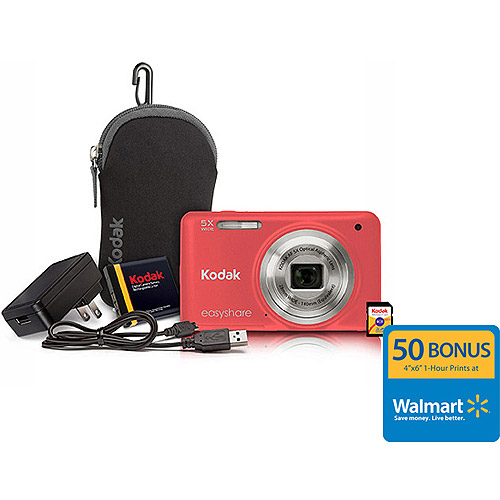 "Kodak M5350 16MP Digital Camera Bundle w/ Optical 5x Zoom, 2.7"" LCD Display and Kodak Share Button, Salmon"