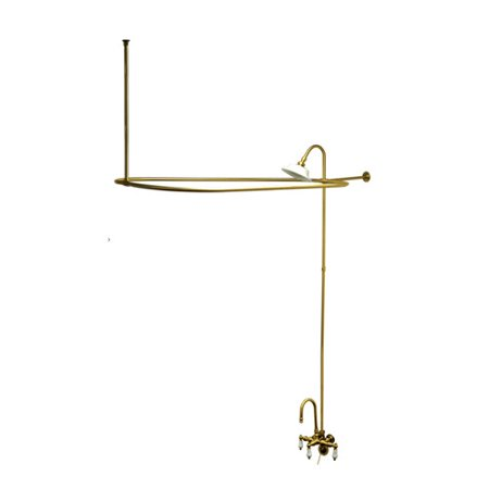 Kingston Brass Vintage Triple Handle Wall Mount High Rise Clawfoot Tub and Shower Package