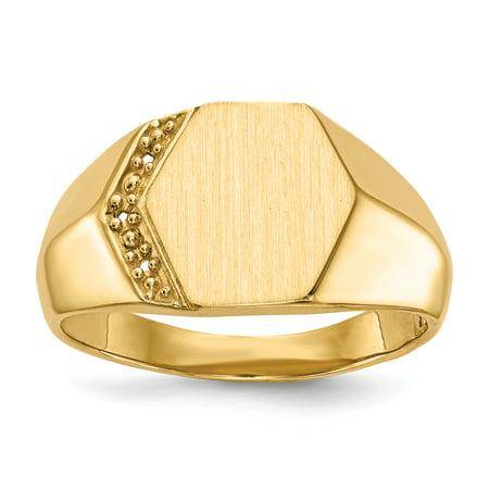 14K Yellow Gold Hollow Signet Ring