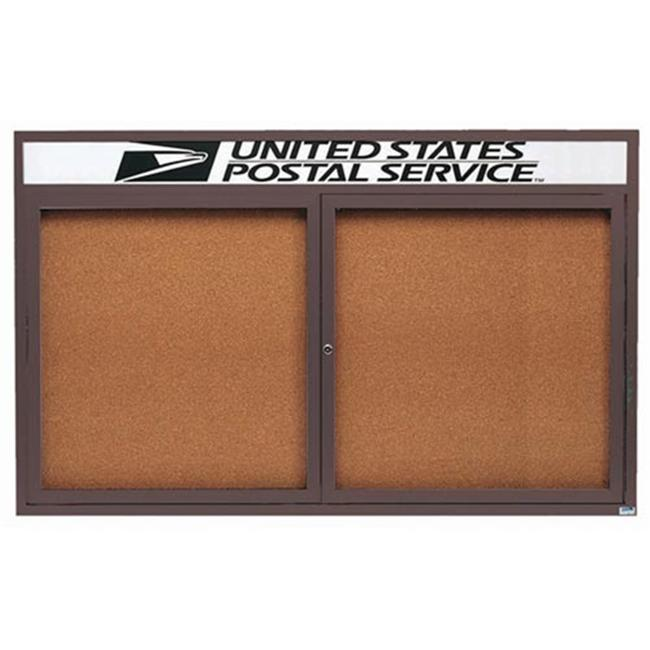 Aarco Products DCC3660RHBA Enclosed Aluminum Bulletin Board with Header - Bronze Anodized