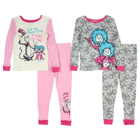 Dr Seuss Pajamas For Toddlers (Dr. Seuss Pajamas Kids Toddler Girls 4 Piece Cotton Sleepwear)