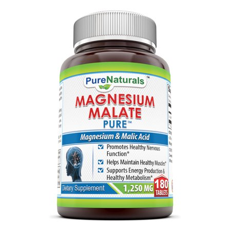 - Pure Naturals Magnesium Malate 1250 Mg 180 Tablets