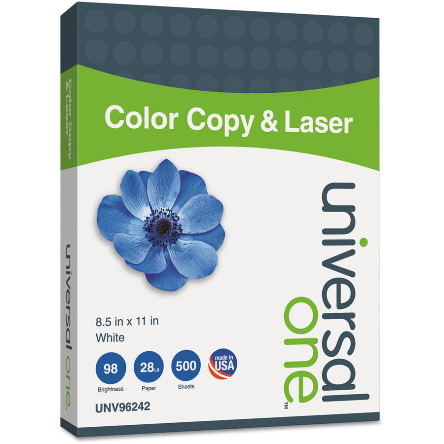"Universal One Copier/Laser Paper, 98 Brightness, 28""Lb, 8-1/2"" x 11"", White, 500 Sheets/Ream"