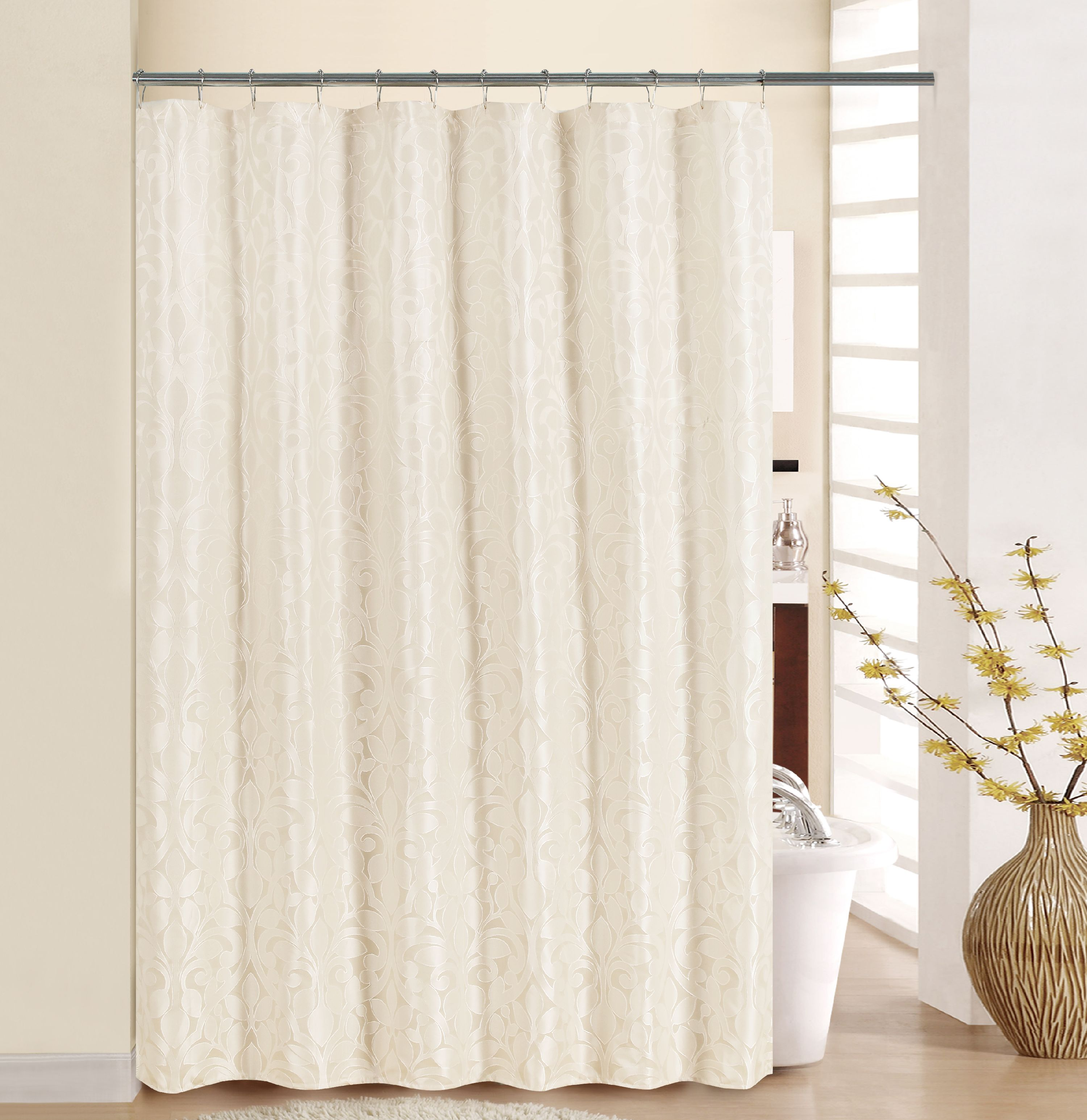 Better Homes And Gardens Damask Scroll Shower Curtain   Ivory Image 1 Of 1