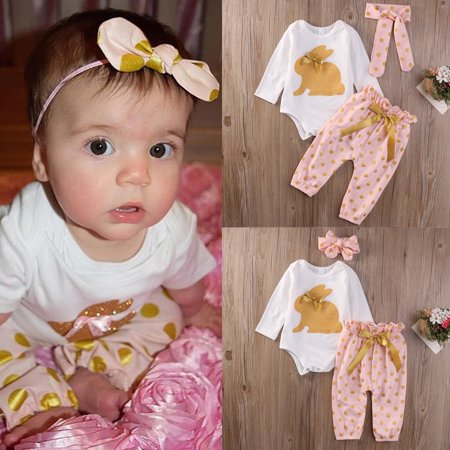 3Pcs Newborn Infant Baby Girls Clothes Polka Dot GOLD RABBIT Romper Leggings Pants Outfit Set - Rabbit Outfit