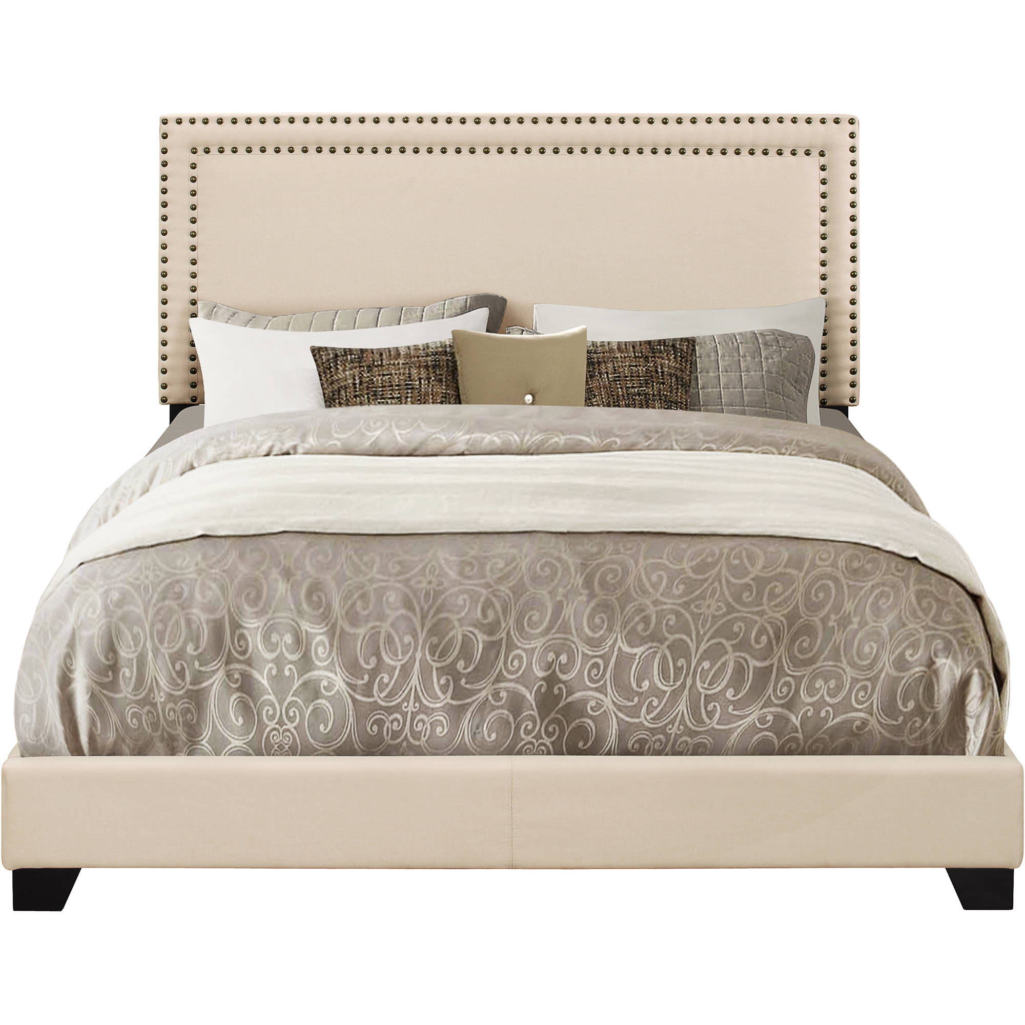 Cream Upholstered Queen Bed with Nail Head Trim